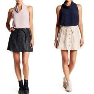 691423c3a906 Free People Faux Leather Pleated A Line Skirt C
